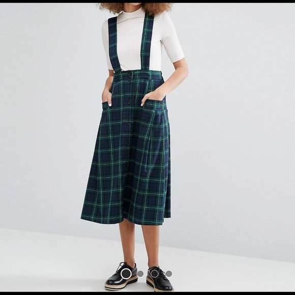 fa52bb7c8d ASOS Monki Check Pinafore Skirt